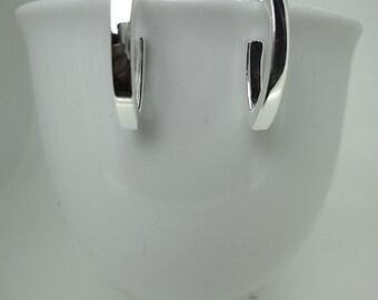 Sterling Silver V Bar Earrings
