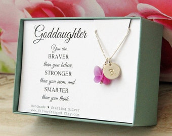 Goddaughter necklace gift for god daughter sterling silver necklace initial Swarovski butterfly graduation confirmation gift
