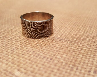 FINGERPRINT RING in .999 SOLID Fine Silver-10mm wide-with hammered textured