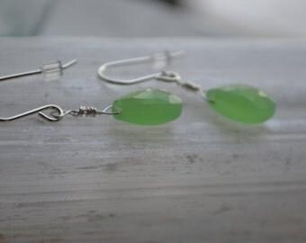 Green earrings, chalcedony, sterling silver gemstone, drop earrings, gift for her, minimalist earrings, gift for her