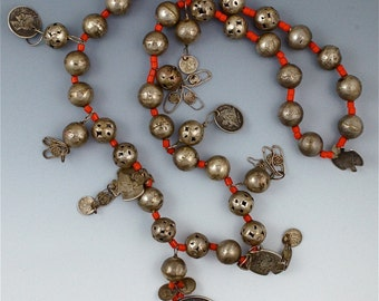 Antique Guatemalan Silver Coin pendant and glass bead necklace