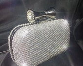 Silver Crystal Clutch,Crystal Evening Bag,Clutch,Crystal Minaudiere,Wedding Clutch,Crystal Purse,Minaudiere,Gifts for Her,Silver Minaudiere