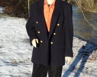 12 AQUASCUTUM CASHMERE & WOOL Double Breasted Blazer Cashmere Navy Blue Jacket Size 12 Cashmere Blend Navy Blue  Blazer of Extreme Softness