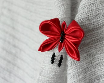 Red brooch Butterfly brooch pin Gift for girl Mothers day gift|for|her Kanzashi Boho gift for coworker Black red jewelry Cute fabric brooch