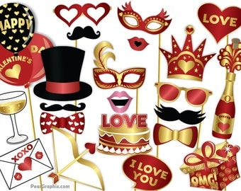 Valentines Photo Booth Props, Valentine Photo Prop, Valentines Party Kit Valentines Day Decor, Valentine Decor, Valentine Printable PDF Gold