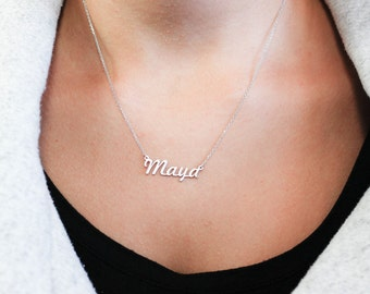 Name Necklace, Custom Name Necklace, Kids Name Necklace, Personalized Name Necklace, Children Name Necklace, Silver Gift for Mother, SN0224