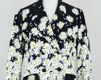 MOSCHINO 1990s Vintage Fitted Blazer Jacket Daisy Print Cotton Black White Yellow Size Germany 42 / UK 14 / USA 10