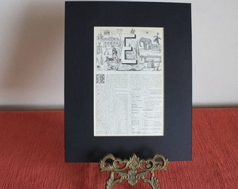 1939 Vintage french Alphabet letter E mounted print illustration matted page