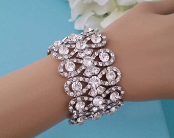 Bridal Stretch Bracelet, Rhinestone Crystal Wedding Bracelet , Art Deco Silver tone Wedding Party Hand Cuff, Bridesmaid Accessory