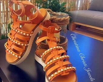 Leather Platform Sandals, Gladiator Sandals, Summer Shoes in White Color, Made From Genuine Leather In Greece.