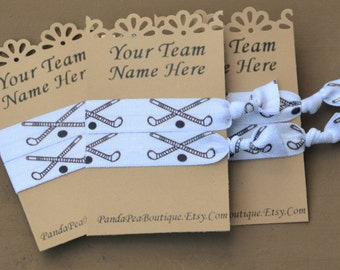 CUSTOM Field Hockey Team Elastic Hair Ties by Panda Pea/Hair Tie Bracelet/Yoga Hair Ties/No Crease Hair Ties