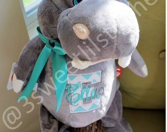 "Personalized Hippo Plush Stuffed Animal Cubbie ""Lumpty Lou"" Custom Embroidery Baby Child Keepsake Gift, Birth Stats Announcement, Baptism"
