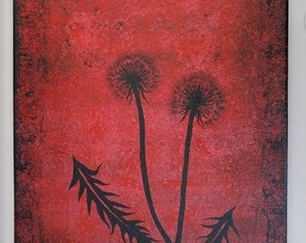 Dandelion Painting Original Wild Flower Art Red Black Modern Abstract Gift Silhouette Wishing Flowers On Canvas Unique Texture Home Decor