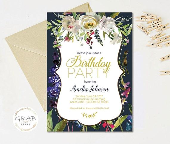 Adult Birthday Invitation, Birthday Invitation for Woman, Floral Birthday Invitation, Peony Invitation, Printable Birthday Party Invitation