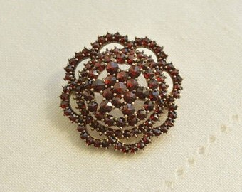 Gorgeous Edwardian Bohemian GARNET Silver 900 Flower Brooch, Antique Brooch, Garnet Jewelry