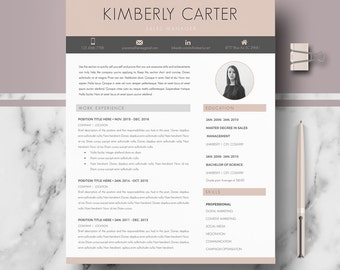 Modern Resume Template; Modern CV for Ms Word / Pages; Professional resume, curriculum + Cover Letter + References + tips; Instant Download