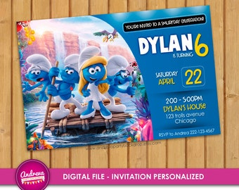 Smurfs Invitation, Smurfs Birthday, Smurfs Party, Smurfs Printables, Smurfs Invite, Smurfs The Lost Village, Smurfs Movie invitation card