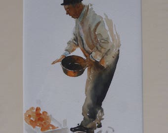 Market Man - Original Watercolour by Sue Rubira