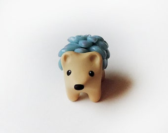 Blue Succulent Hedgehog Figure