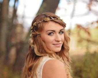 gold rustic crown - woodland bridal crown - gold bridal crown - gold rose crown - rustic flower crown - gold circlet - bohemian bridesmaid