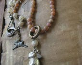 RESERVED ~ Peter ~ antique bunny baby rattle gemstone tribal summer necklace