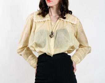 SALE- Pale Yellow Top Antique Blouse EDWARDIAN