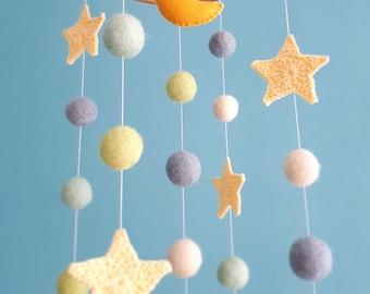 Moon Mobile Stars Nursery Decor Space Baby Mobiles Hanging Felt Balls Mobile Neutral Gender Gift Natural Baby Decor Mint Grey Kids Room