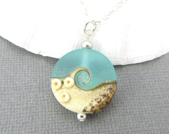 Beach jewelry, Ocean necklace, Sea glass pendant, Aqua blue wave necklace, Beach wedding jewelry,  Lampwork necklace, Glass bead pendant