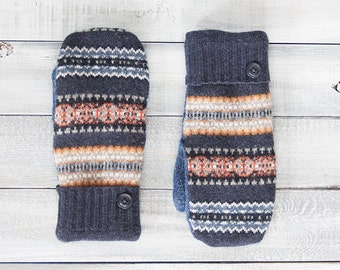 Sweater mittens, recycled sweater mittens, blue mittens, womens mittens, Fleece-lined mittens, upcycled sweater, wool mittens, Fair Isle