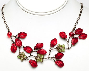 Green and Red Floral Necklace