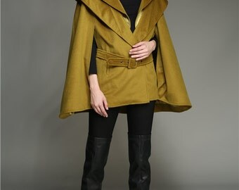 Wool Coat Cloak In Khaki Green And Gray, 100% Cashmere Jacket, Winter Coat, Hooded Coat, Wool Cape Cloak, Wool Poncho, Bridal Cape Cloak