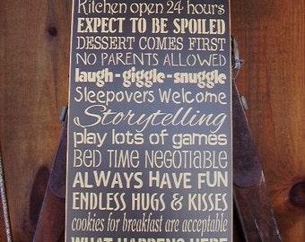 Grandparent's House Rules, Grandma, Personalized, Grandpa, Grandparents, Family, Handmade, Subway, Word Art Sign
