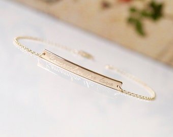 14K Solid Gold Skinny & Dainty Bar Bracelet - Personalized Bar Bracelet, GPS Coordinates Bracelet, Skinny Engraved Bar Bracelet - dB3532r