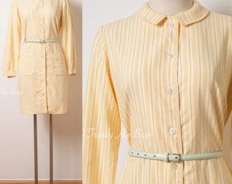 60s Dress, Vintage Yellow Dress, Mod Dress, Mad Men Dress, 60s Mod Dress, 60s Yellow Dress, Yellow stripe Dress, Vintage Stripe Dress - S/M