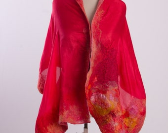 Blanket scarf in red, Boho shawl, Blanket wrap, Wool wrap, Felted scarf, Sweater wrap Lightweight scarf, Wet felted scarf, Nuno felted scarf