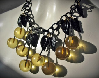 RARE Vintage 30s 40s Clear Applejuice Carved BAKELITE Cherries Cherry Dangles Necklace, Black CELLULOID Leaves and Chain, and Brass Hardware