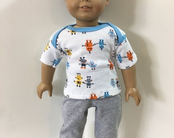 "18 inch BOY Doll Clothes, Cute ""LEGO-ish"" Colorful Robots Top, Gray Pants, 2-Piece Outfit, 18 inch AG Boy Doll, 18 inch Boy Doll Clothes"