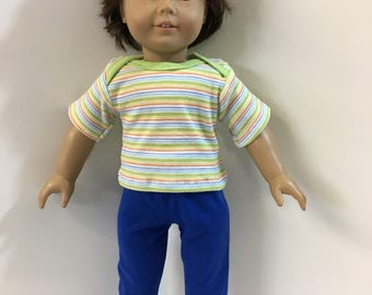 "18 inch BOY Doll Clothes ""Yellow/Green/Blue/Orange"" Striped Top, Blue Pants, 2-Piece Outfit, 18 inch AG Doll, 18 inch Boy Doll Clothes"
