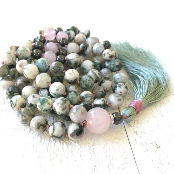 Positive Vibration Mala Beads, Green Agate And Rose Quartz Mala, 108 Mala Beads, Yoga Prayer Beads, Silk Tassel And Hand Knotted