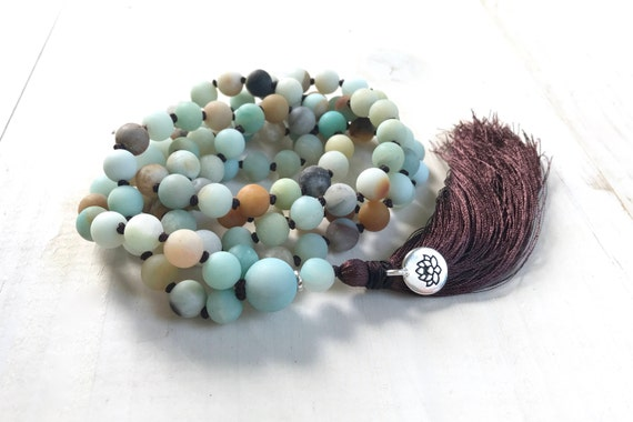 Amazonite Knotted Tassel Mala, Natural Stone Mala Beads, 108 Bead Yoga Meditation Beads, Healing Natural Jewelry, Lotus Charm mala