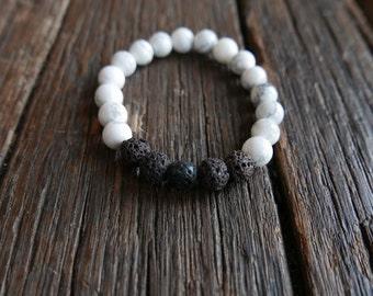 Howlite and Lava rocks 8mm - Mala Beads - Meditation - Calming and grounding - Yogi