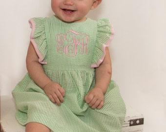 Infant Monogrammed Dress | Seersucker Dress | Monogram Easter Dress | Infant Dress | Spring Dress | Infant Easter Dress | Easter Outfit
