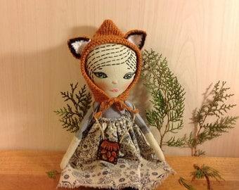 heirloom doll cloth doll forest fairy fox rag textile fabric soft sculpture stuffed  doll art doll woodland doll pixie doll soft doll