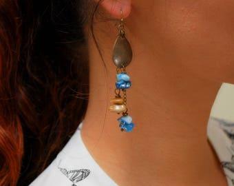 Rustic bohemian teardrop bronze earrings, Ethnic blue brown drop earrings, boho hippie jewelry, tribal chain earrings, unique design