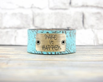 Leather Cuff - Hand Stamped Jewelry - Leather Bracelet - Personalized Jewelry - Metal Stamped Jewelry - Custom Hand Stamped - Custom Stamped
