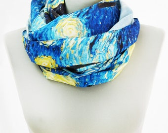"Vincent Van Gogh ""Starry night"" scarf, Van Gogh scarf, Festival shawl, Painting scarf, Spring Summer Autumn scarf, Resortwear, Accessories"