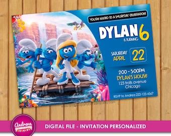 Smurfs Invitation, Smurfs Birthday, Smurfs Party, Smurfs Printables, Smurfs Invite, Smurfs The Lost Village, Smurfs Movie invitation card