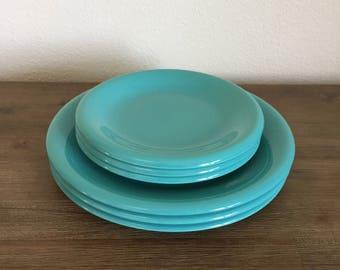Vintage Plates; Baker, Hart & Stuart Plates; Blue Plates; Wedding Decor; Babyshower Decor; Gender Reveal; Turquoise Plates