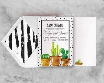 Watercolour Cactus Baby Shower Invite, Cactus Baby Shower Invitation, Cactus Baby Shower Invites, Watercolour Cactus Invites, Printable