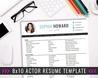 actor resume template 8 x 10 acting resume instant digital download ms word